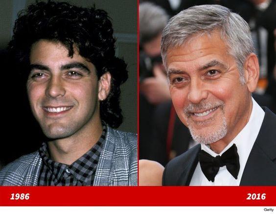 """La buena apariencia de George Clooney no se ve afectado por la gravedad!  Aquí hay una versión de 25 años de edad del actor de """"hechos de la vida"""" en un evento de caridad en 1986 (izquierda) y 30 años más tarde ... con 55 años de edad el actor principal de """"Monster Money"""" en el Festival deCannesen Francia a principios de esta semana (a la derecha)."""