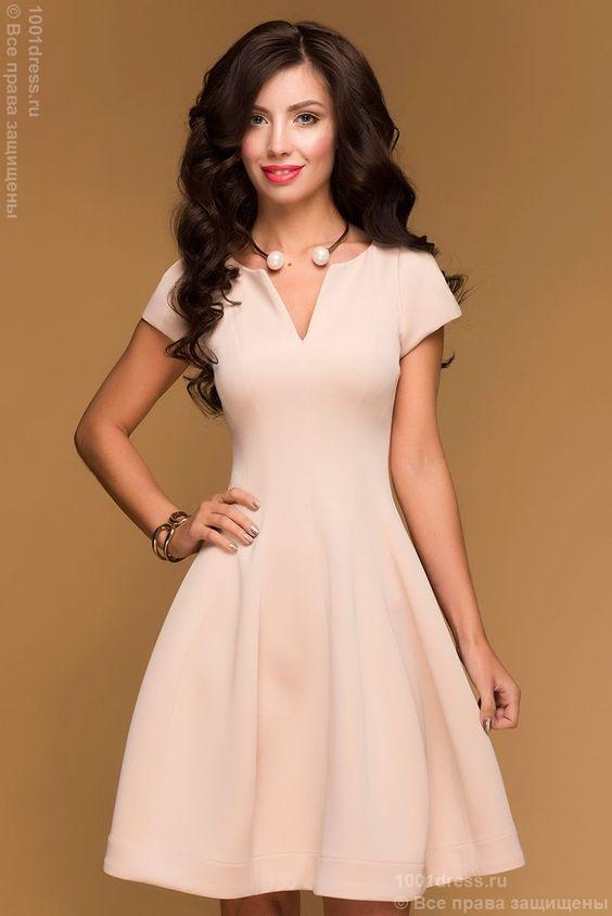 Купить бежевое коктейльное платье с короткими рукавами и вырезом на груди в интернет-магазине 1001 DRESS