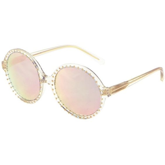 Heidi London - Rose Gold Mirrored Studded Sunglasses (925 BRL) ❤ liked on Polyvore featuring accessories, eyewear, sunglasses, rose gold sunglasses, circle glasses, white lens sunglasses, clear lens sunglasses and studded sunglasses