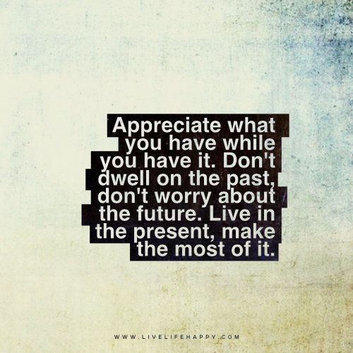 Live Life Happy Quote: Appreciate what you have while you have it. Don't dwell on the past, don't worry about the future. Live in the present, make the most of it.: