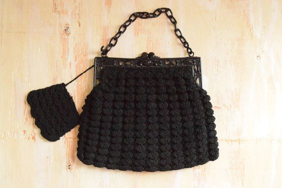 Vintage 1940's  Black Crochet Clutch with Celluloid Frame and Chain by GracedVestige on Etsy
