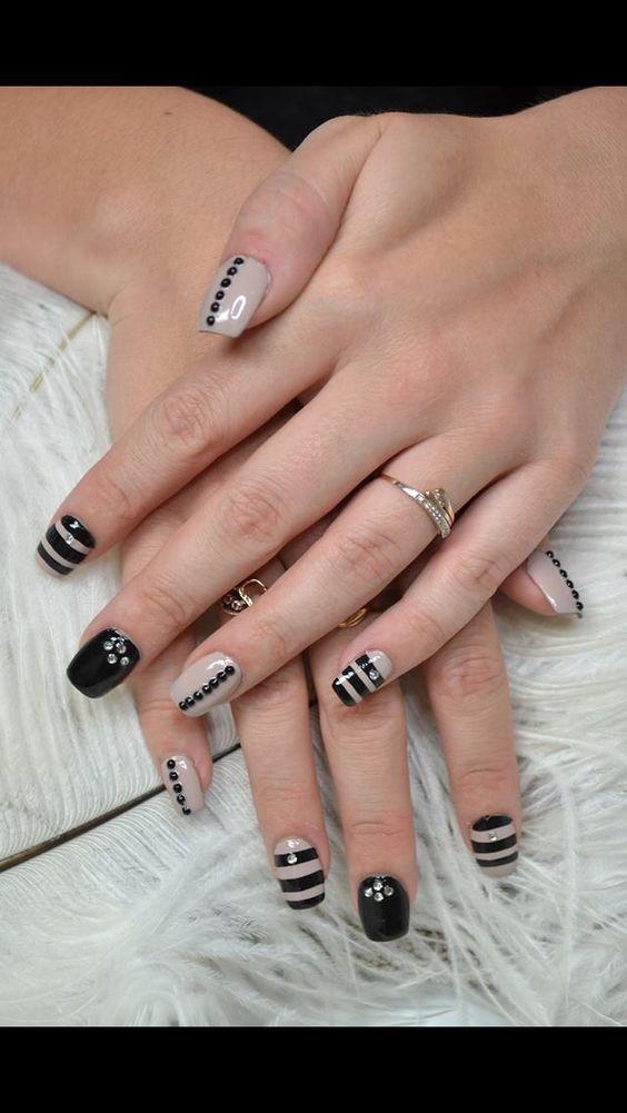 Nude and black nail art