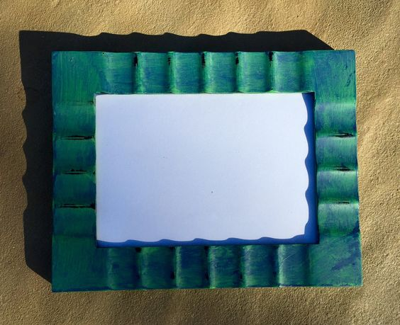 Blue/Green Chalk Painted Picture Frame (5x7) Puttering Mom For