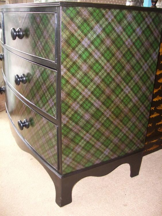 A handsome Victorian chest of drawers decorated in tartan on top, front and sides 45 wide x 21 deep x 33 inches high - side view: