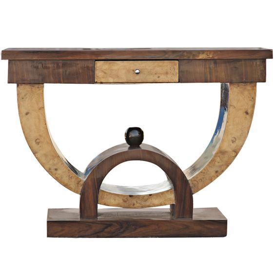 Art Deco Style Rosewood and Burl Console