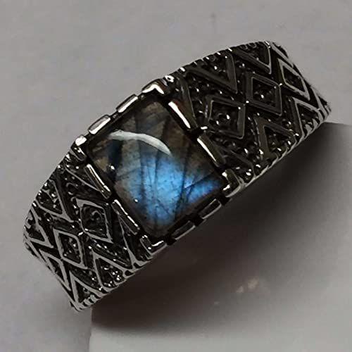 9 9.75 11.75 13 11 12 Natural Blue Iridescence Labradorite 925 Sterling Silver Mens Ring Size 8.75 10