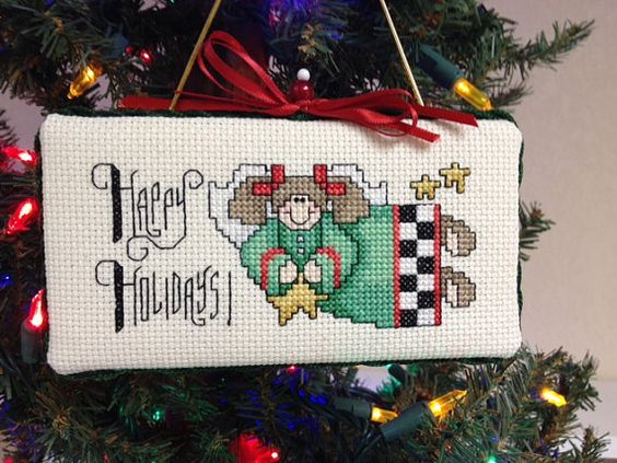 Christmas Tree Ornament  Cross Stitch  Happy by homecrafting, $12.00