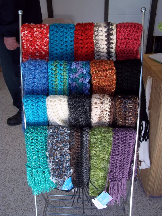 Crochet scarf display - choose from many colors or order ...