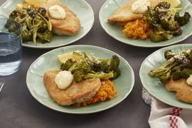Parmesan-Crusted Chicken with Roasted Broccoli & Mashed Sweet Potatoes