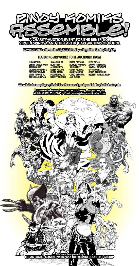 Various Pinoy comic book creators have banded together for a charity auction event for the benefit of Virgil Espinosa and the earthquake victims of Bohol at the KOMIKON this coming November 16, 2013 Saturday at the Bayanihan Center in Pasig City.