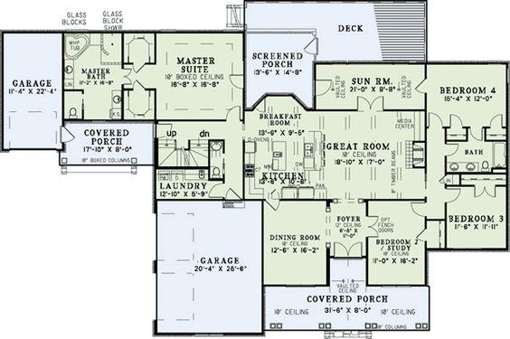 One level homes bonus rooms and floors on pinterest for One level house plans with bonus room