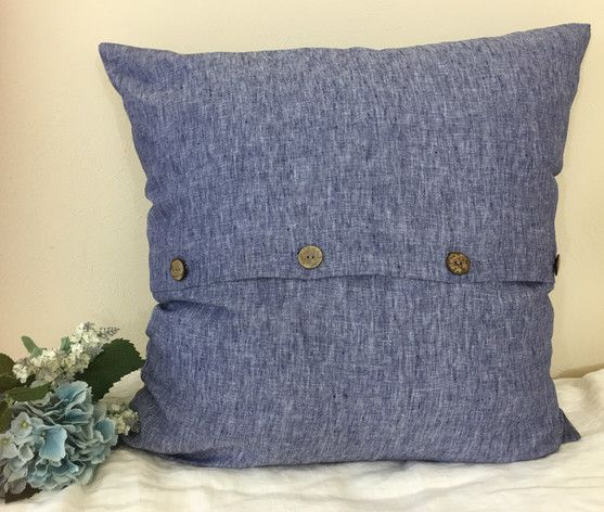 Chambray Denim Linen Sham With Buttons Abstract Design With Rustic Buttons Linen Euro Sham Linen Shams Sham