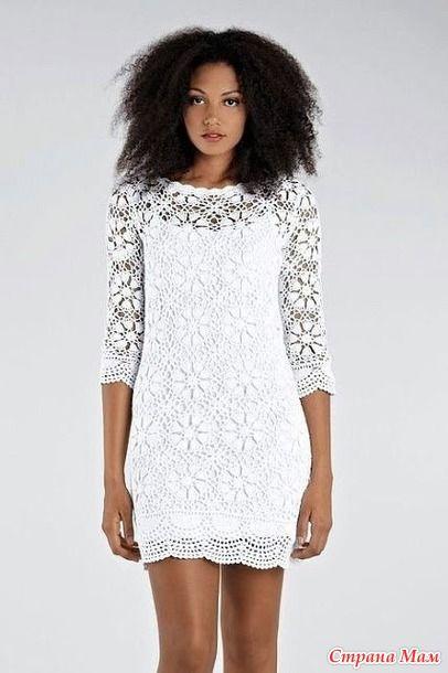 * Λευκό φόρεμα κίνητρα \ χιτώνα. - Όλα σε διάτρητη ... (βελονάκι) - Χώρα Μαμά