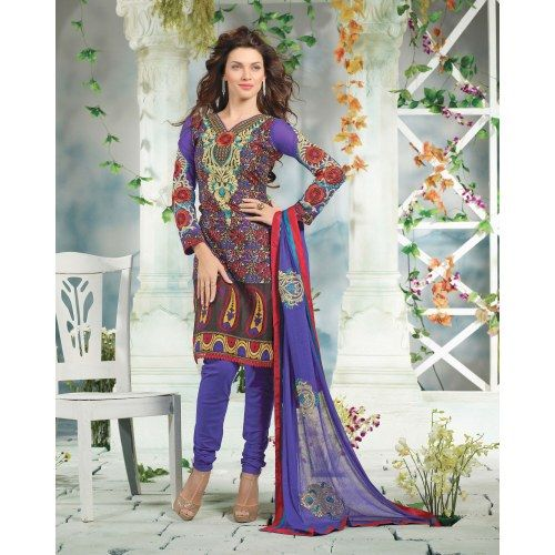 Amazing cutting top work with printed salwar suit