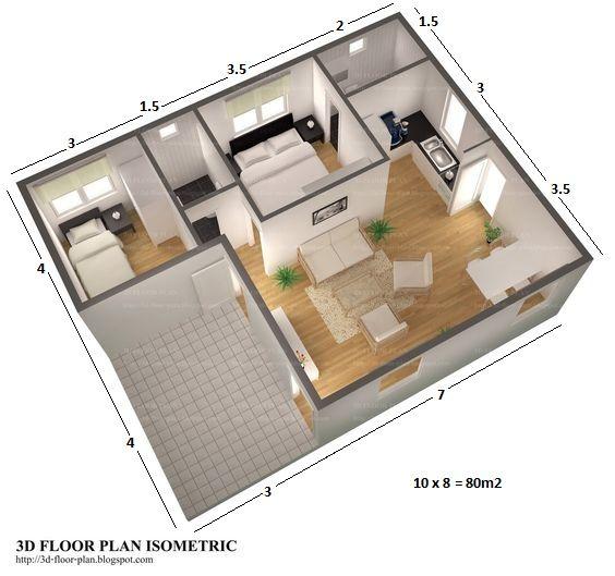 3p 2dwc 80m2 house plans Pinterest House - plan maison plain pied 80m2