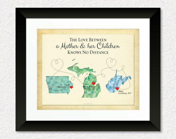 Long Distance Gift, Family Gift, Mothers Day Gift, Custom Gift for Mom, Moving Away Gift, Birthday Gift, Keepsake Print by KeepsakeMaps on Etsy