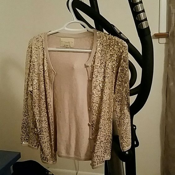 Cardigan Beige and gold Sequin Sanctuary Sweaters Cardigans