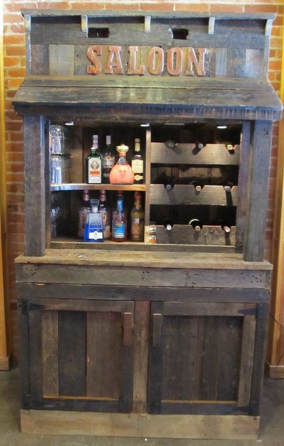 Old barn wood liquor wine cabinet hutch by for Things to make out of barn wood