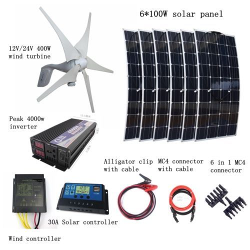 1000w Kit 400w Wind Turbines 6100w Solar Panel Controller 4000w Inverter Solar Power Panels Solar Panels Best Solar Panels