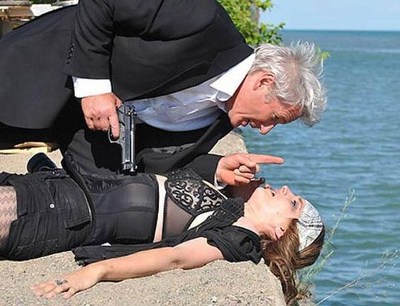 """Stana and Richard Gere in """"The Double""""."""