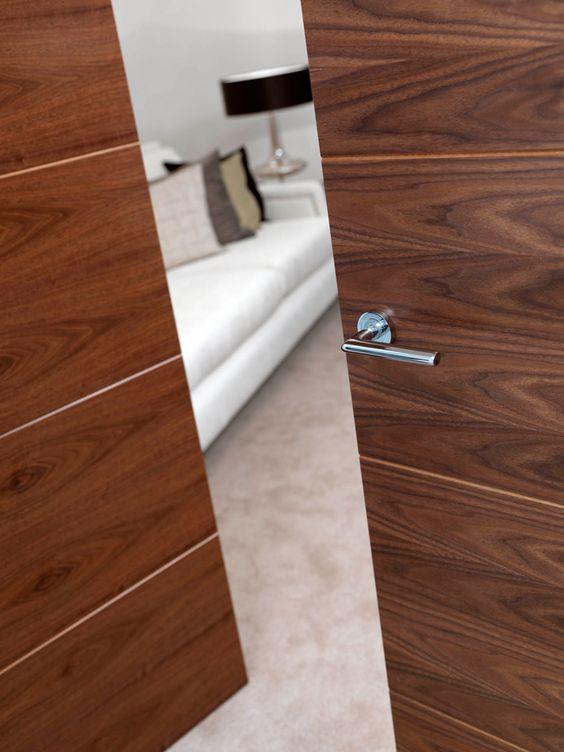 Walnut Flush Lara - Pre-finished Interior Fire Door. Walnut veneered internal door with horizontal grooves