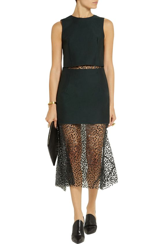 Toga Layered twill and leopard-print cut out voile dress...love the sheer skirt and cut out mid section, super chic