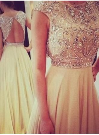 2014 New Style Gowns For Proms Scoop Cap Sleeve Crystals Rhinestones Chiffon Long Ladies Evening Dresses BO3383