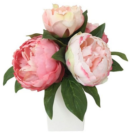 Faux pink peonies arrangement