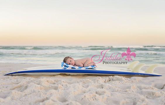 Destin Newborn Photographer, Beach Newborn Photography, baby on surf board