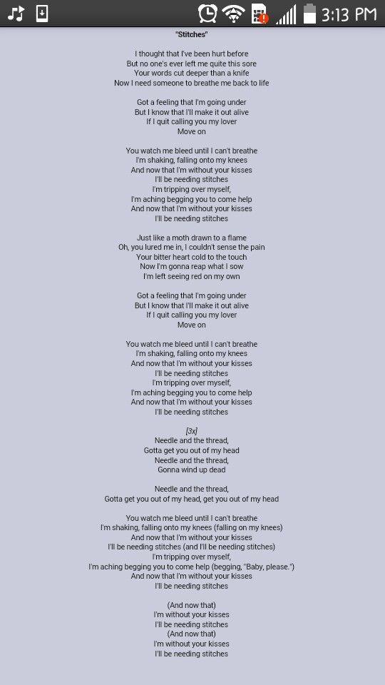 Lyric allele stitches lyrics : Maroon 5
