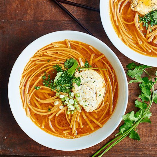 One Pot Asian Noodle Soup - easy, healthy, vegetarian dinner! A twist on hot & sour soup, it's full of whole wheat noodles & poached eggs!