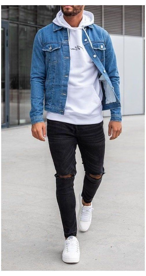 Simple Yet Cool Look Hoodie Denim Jacket Outfits Men Denim Jacket Over White Hoodi In 2020 Streetwear Men Outfits Mens Casual Outfits Summer Fall Outfits Men