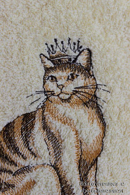 Купить Ручная Кошка . Полотенце для добрых рук. - желтый, полотенце с вышивкой, красивое полотенце
