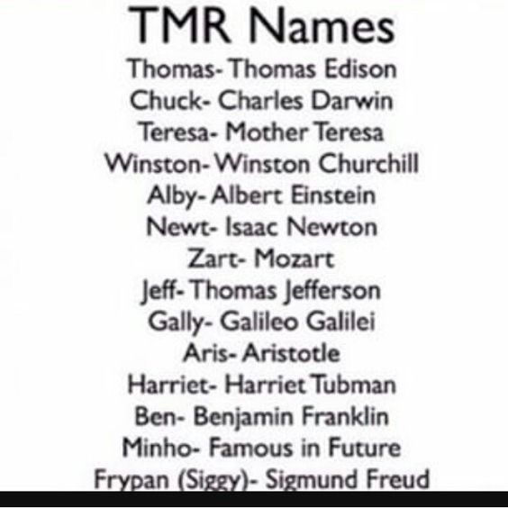 The Maze Runner name guide. YES finally found it! ( I love it: Minho:famous in the future,)