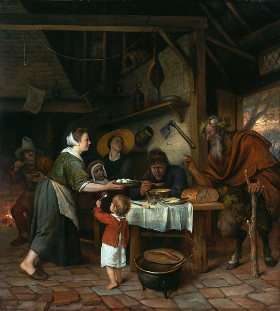 A peasant family sits around a wooden table in a Dutch kitchen. The room's exposed rafters, assorted domestic objects on shelves, and cobbled floor are all rendered in careful detail. A woman serves a man who blows on his soup to cool it. A young child faces her, holding a spoon in his upraised hand and begging for food. A lively young woman wearing a large straw hat and an old woman fill the space between the eating man and the standing woman. A crude fellow in the background spoons soup in...: