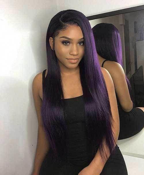 38 Flattering Long Hair With Bangs Trending In 2019 In 2020 With Images Purple Hair Black Girl Dark Purple Hair Purple Natural Hair