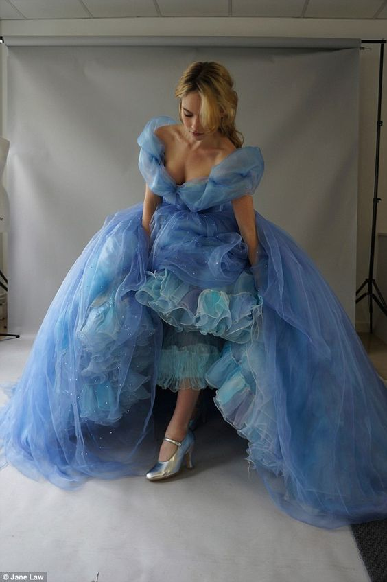 Lily James as Cinderella: Behind the many layers, the gown is a feat of structural engineering. We started with the underwear: the corset and the crinoline (skirt cage), which was made of steel.