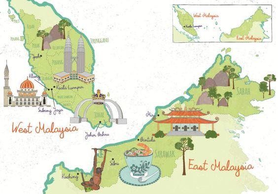 Malaysia Illustrated Map Kuala Lumpur Klang Mirir Bintulu - Kuching map