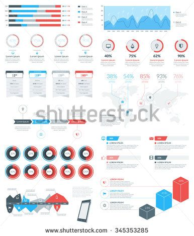 Set of Vector Infographic Elements and Objects for Brochures, Flyers and Websites. Flat Style Vector Illustration