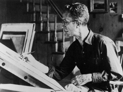 Norman Rockwell at his drawing board