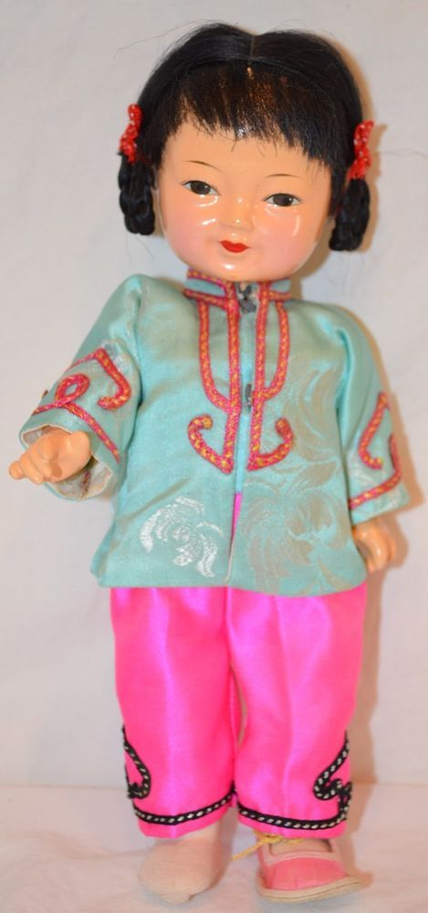 "Vintage CHINESE GIRL DOLL 8.5"" Composition silk clothing CHINA ASIAN old"