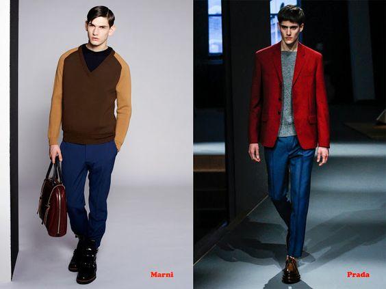 Tendencias hombre otoño/invierno 13/14 color block: Marni y Prada.
