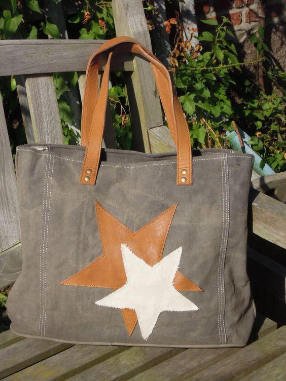 Vintage Canvas Bag - Allround-Tasche, 2 Stars grey http://www.homesweethome-decorations.de/shop/Vintage-Canvas-Bags/