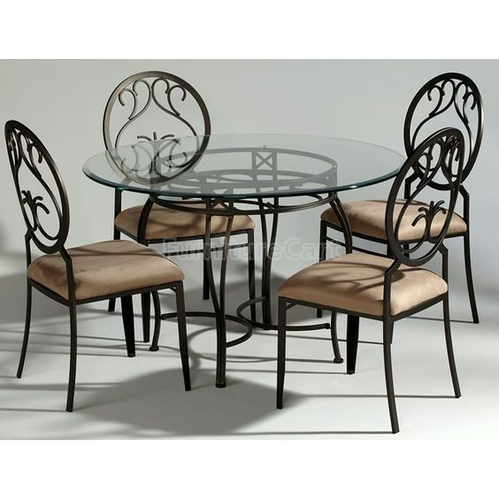 Wrought Iron Kitchen Table And Chairs: Wrought Iron Dinette W/ Round Back Chairs
