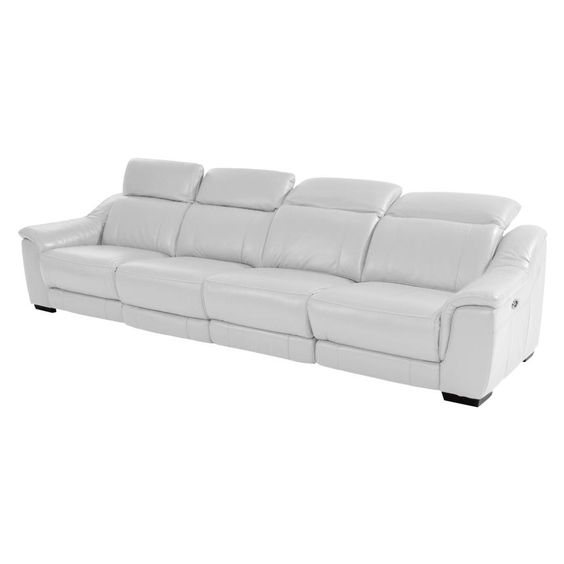 "Davis White 142"" Oversized Leather Sofa"