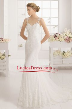 2016 Sexy Open Back Mermaid Wedding Dresses With Applique Sweep Train Tulle US$ 269.99 LCPTBE6PDD - luciesdress.com for mobile