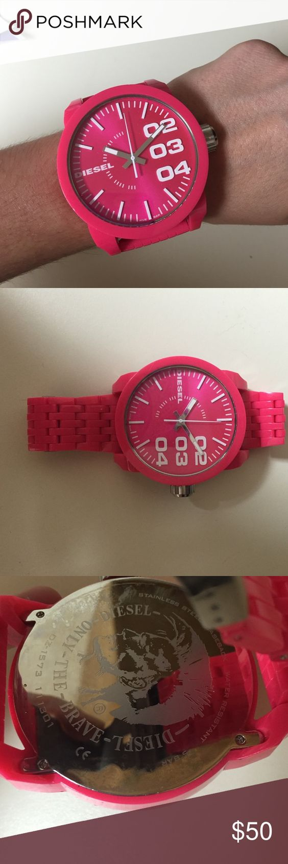 Diesel hot pink big face watch Awesome watch-- actually categorized as a men's watch, so can be unisex. I dont have the extra links anymore though. Neon pink color with white numbers. Only worn a couple of times --just needs a new battery, which is easily replaceable Diesel Accessories Watches
