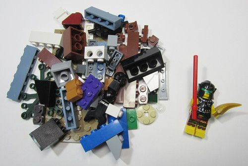 50+ LEGO Pieces With Custom Minifigure Fighter Washed and Sanitized NEW (WF10)