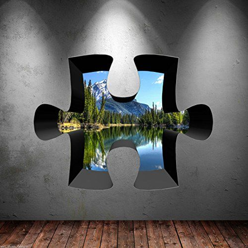 3D Jigsaw Full Colour Lake Mountain River Wall Art Sticker Decal Bedroom Graphic Wall Smart Designs