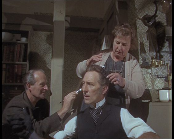 Some silent footage of Peter Cushing on the set of Frankenstein Created Woman in 1966: http://www.britishpathe.com/video/peter-cushing-1/